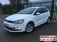 USED 2014 64 VOLKSWAGEN POLO 1.0 SE 5d 60 BHP STUNNING WHITE WITH BLACK CLOTH TRIM. 15 INCH ALLOYS. COLOUR CODED TRIMS. BLUETOOTH PREP. AIR CON. R/CD PLAYER. MOT 11/20. SERVICE HISTORY. SUV4X4 USED CAR CENTRE LS23 7FQ. TEL 01937 849492 OPTION 2