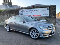 USED 2012 62 MERCEDES-BENZ C-CLASS 2.1 C220 CDI BLUEEFFICIENCY AMG SPORT 2d 170 BHP GREY LEATHER SEATS+HEATED FRONT SEATS+SATELLITE NAVIGATION+FULL MERCEDES SERVICE HISTORY+ONLY 2 OWNERS FROM NEW