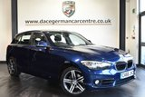 """USED 2016 66 BMW 1 SERIES 2.0 118D SPORT 5DR 147 BHP full service history  Finished in stunning mediterranean metallic blue styled with 17"""" alloys. Upon entering the door you are presented with cloth upholstery, full service history, satellite navigation,bluetooth, cruise control, parking sensors, sport seats, dab radio, multi function steering wheel, fog lights, sport line, connected drive services and rain sensors"""