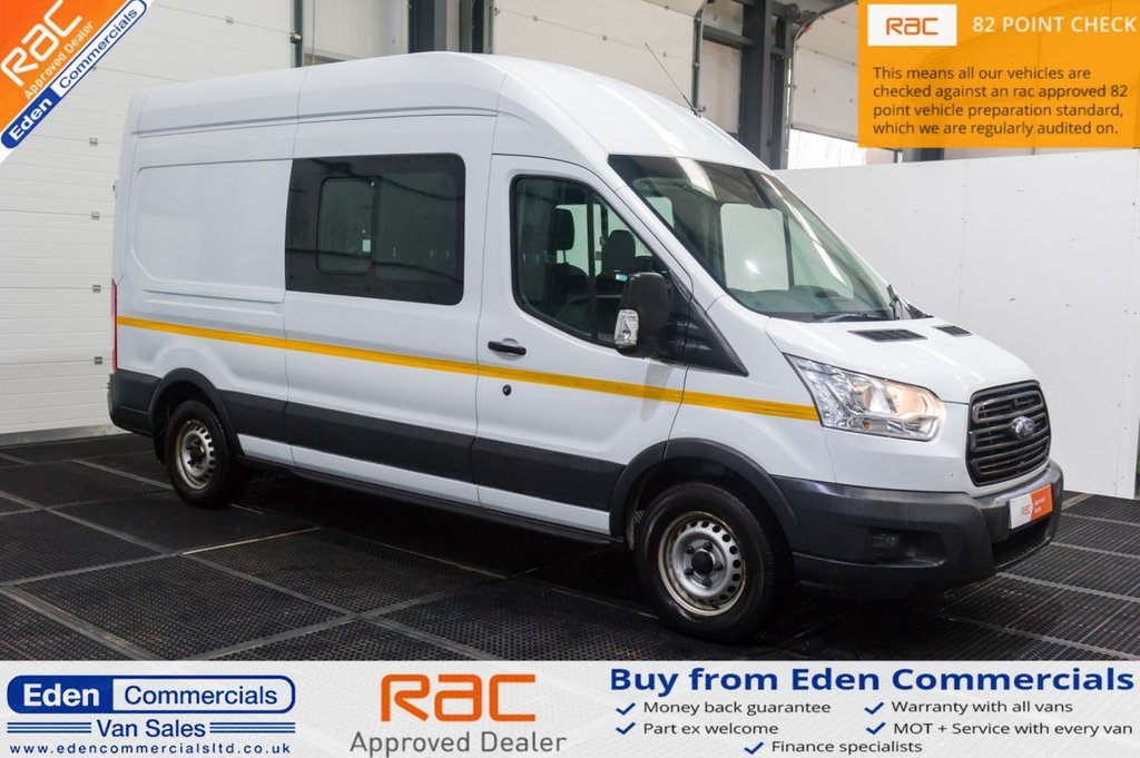 USED 2016 16 FORD TRANSIT 2.2 350 L3H3 DOUBLE CAB 124 BHP CREW VAN / 7 SEATS