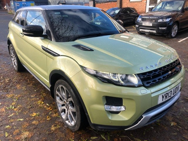USED 2013 13 LAND ROVER RANGE ROVER EVOQUE 2.2 SD4 DYNAMIC 3d AUTO 190 BHP COUPE VERY CLEAN HIGH SPEC EXAMPLE IN AN UPGRADED COLOUR. FULL LEATHER INTERIOR. ALLOY WHEELS. PARKING SENSORS. HEATED SEATS. AUX/USB. CRUISE CONTROL. CLIMATE CONTROL. AIR CON. SAT NAV. EXCELLENT DOCUMENTED SERVICE HISTORY WITH.