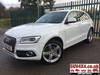 USED 2014 14 AUDI Q5 2.0 TDI QUATTRO S LINE PLUS 5d 175 BHP SAT NAV LEATHER PRIVACY 4WD. SATELLITE NAVIGATION. STUNNING WHITE WITH FULL BLACK LEATHER S-LINE TRIM. CRUISE CONTROL. 20 INCH ALLOYS. COLOUR CODED TRIMS. PRIVACY GLASS. PARKING SENSORS. BLUETOOTH PREP. ELECTRIC TAILGATE. MULTI MEDIA SCREEN. CLIMATE CONTROL. AUTO GEARBOX. TRIP COMPUTER. R/CD/MP3 PLAYER. MFSW. MOT 05/20. SERVICE HISTORY. PRESTIGE SUV CENTRE LS23 7FR. TEL 01937 849492 OPTION 1