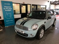 """USED 2013 63 MINI CLUBMAN 1.6 COOPER D 5d 112 BHP This Clubman is finished in Ice Blue with black Roof and mirror caps, fitted with a Chilli pack so has a Black leather & cloth interior. It is fitted with power steering, mini mood lighting, DAB radio, remote locking, electric windows and mirrors, climate control, cruise control, roof rails, Bluetooth, 16"""" double spoke alloy wheels, reverse park, CD Stereo with Aux & USB ports and more. It has had three owners from new and comes with a full Mini service history consisting of 4 visits."""