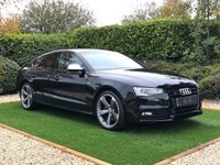 USED 2015 65 AUDI S5 3.0 S5 SPORTBACK TFSI QUATTRO BLACK EDITION 5d 328 BHP Specification Includes: Black Full Leather S-Line Embossed Heated Electric Seats, Bang & Olufsen Premium Sound, Bluetooth Connectivity, Front and Rear Park Distance Control + Optical Park, 19 Inch Rotar Alloy Wheels, Leather Multi Function Steering Wheel with Steering Wheel Mounted Paddle Shift, Cruise Control, Automatic Bi-Xenon Headlights + Power Wash, Digital Dual Zone Climate Control, Voice Control, Start / Stop Technology.