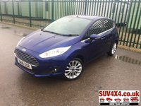 USED 2016 16 FORD FIESTA 1.0 TITANIUM X 5d 99 BHP LEATHER ALLOYS SENSORS PDC FSH STUNNING BLUE MET WITH BLACK LEATHER TRIM. HEATED SEATS. CRUISE CONTROL. 16 INCH ALLOYS. COLOUR CODED TRIMS. PRIVACY GLASS. PARKING SENSORS. REVERSE CAMERA. REAR SPOILER. BLUETOOTH PREP. AIR CON. R/CD PLAYER. MFSW. MOT 05/20. SERVICE HISTORY. SUV4X4 CAR CENTRE LS23 7FQ TEL 01937 849492 OPTION 2