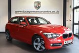 """USED 2013 63 BMW 1 SERIES 2.0 116D SPORT 5DR 114 BHP superb service history Finished in a stunning crimson red styled with 17"""" alloys. Upon opening the drivers door you are presented with anthracite upholstery, superb service history, bluetooth, dab radio, sport seats, Multifunction steering wheel, Fog lights, Rain sensors, Sport Line, Automatic locking during starting"""