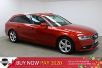 USED 2015 15 AUDI A4 AVANT 2.0 TDI ULTRA SE TECHNIK 5d 161 BHP Finished in stunning Garnet Red + 17 inch alloys + Full black leather interior + FULL SERVICE HISTORY + £30 ROAD TAX + BANG & OLUFSEN SOUND SYSTEM + SAT NAV + BLUETOOTH + DAB RADIO + IN CAR ENTERTAINMENT - CD / AMI + DVD PLAYER + DUAL CLIMATE CONTROL + MULTI FUNCTION STEERING WHEEL + CRUISE CONTROL + ELECTRIC MIRRORS + ELECTRIC WINDOWS + ELECTRIC POWERED BOOT + FRONT / REAR PARKING SENSORS + AUTO LIGHTS + VOICE CONTROL