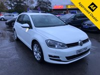2015 VOLKSWAGEN GOLF 1.4 GT TSI ACT BLUEMOTION TECHNOLOGY 5d 148 BHP IN PEARL WHITE WITH ONLY 35000 MILES, FULL SERVICE HISTORY, 1 OWNER, ULEZ COMPLIANT AND A GREAT SPEC INCLUDING SAT NAV  £12499.00