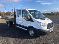 USED 2016 66 FORD TRANSIT 350 125 CREW CAB TIPPER WITH TWIN REAR WHEELS AND STEEL BODY