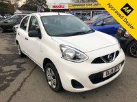 2014 NISSAN MICRA 1.2 VISIA 5d 79 BHP IN WHITE WITH 89500 MILES, FULL SERVICE HISTORY, 1 OWNER AND IS ULEZ COMPLIANT WITH A GREAT SPEC £2999.00