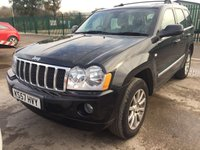 USED 2008 57 JEEP GRAND CHEROKEE 3.0 V6 CRD OVERLAND 5d 215 BHP MOT 03/20 4WD. BLACK MET WITH GREY LEATHER TRIM. ELECTRIC MEMORY HEATED SEATS. CRUISE CONTROL. 18 INCH ALLOYS. COLOUR CODED TRIMS. PARKING SENSORS. CLIMATE CONTROL. MFSW. R/CD PLAYER. MOT 03/20. AGE/MILEAGE RELATED SALE. P/X CLEARANCE CENTRE - LS23 7FQ. TEL 01937 849492 OPTION 3