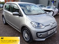 USED 2014 14 VOLKSWAGEN UP 1.0 HIGH UP 5d 74 BHP SERVICE HISTORY LOW MILES LEATHER TRIM SAT NAV SPORTS ALLOYS EMBOSSED LEATHER TRIM