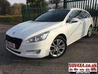 USED 2014 14 PEUGEOT 508 1.6 E-HDI SW ACTIVE NAVIGATION VERSION 5d 115 BHP PAN ROOF SAT NAV  PANORAMIC SUNROOF. SATELLITE NAVIGATION. STUNNING WHITE WITH BLACK CLOTH TRIM. 18 INCH ALLOYS. COLOUR CODED TRIMS. PRIVACY GLASS. PARKING SENSORS. BLUETOOTH PREP. AIR CON. R/CD PLAYER. MFSW. MOT 11/20. SUV4X4 USED CAR CENTRE LS23 7FQ TEL 01937 849492 OPTION 2