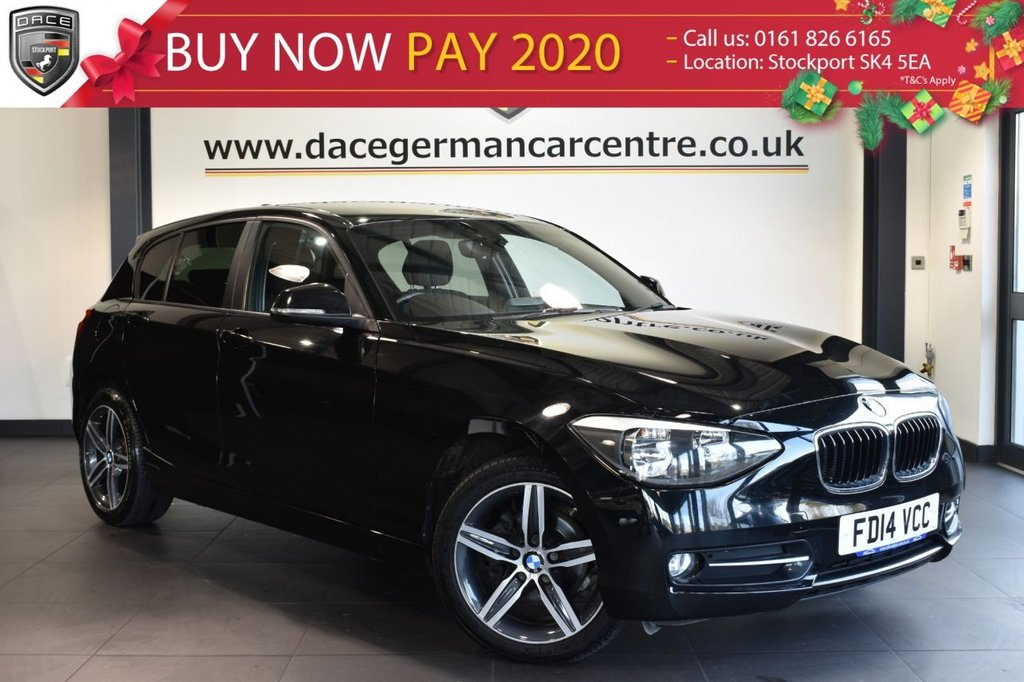 """USED 2014 14 BMW 1 SERIES 1.6 116I SPORT 5DR 135 BHP superb service history  Finished in a stunning black styled with 17"""" alloys. Upon opening the drivers door you are presented with cloth upholstery, bluetooth, dab radio, cruise control, Multifunction steering wheel, privacy glass, Sports seats, Fog lights, Rain sensors, Sport Line, Automatic locking during starting, parking sensors"""