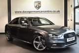 """USED 2013 13 AUDI A4 2.0 TDI BLACK EDITION 4DR 174 BHP excellent service history Finished in a stunning daytona metallic grey styled with 19"""" alloys. Upon opening the drivers door you are presented with half black leather interior, excellent service history, satellite navigation, bluetooth, xenon lights, bang & olufsen surround sound, cruise control, sport seats, multi-functional steering wheel, climate control, AUX/USB port, heated mirrors, parking sensors"""