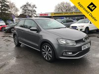 USED 2017 67 VOLKSWAGEN POLO 1.2 MATCH EDITION TSI 3d 89 BHP IN DARK METALLIC GREY WITH FULL SERVICE HISTORY, 1 OWNER AND A GREAT SPEC Approved Cars are pleased to offer this stunning metallic grey 2017 Volkswagen Polo 1.2 TSI  Match Edition. This car is in immaculate condition and has been well looked after and maintained. It has a full service history with service stamps at 5700 and 15.4k miles. This is an ideal small family car and is very budget friendly to run and look after. It has a great spec including DAB radio, bluetooth, 6 speed gearbox, air con and much more. For more information or to book a test drive please call.