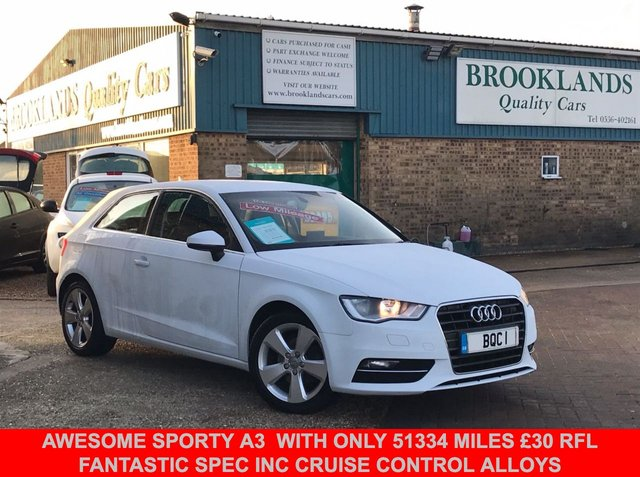 USED 2013 13 AUDI A3 1.4 TFSI SPORT 3 Door White with Grey Sports Seats 121 BHP Awesome Sporty A3  with only 51334 miles £30 RFL and fantastic spec