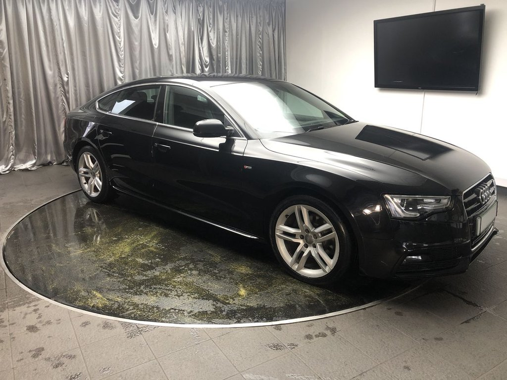 USED 2014 63 AUDI A5 2.0 SPORTBACK TDI S LINE S/S 5d 148 BHP FREE UK DELIVERY, AUTOMATIC HEADLIGHTS & WINDSCREEN WIPERS, CLIMATE CONTROL, CRUISE CONTROL, DAB RADIO, ELECTRONIC PARKING BRAKE, FULL S LINE LEATHER UPHOLSTERY, GEARSHIFT PADDLES, HEATED SEATS, START/STOP SYSTEM, STEERING WHEEL CONTROLS, TRIP COMPUTER