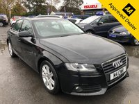 2011 AUDI A4 2.0 TDI SE AUTOMATIC 4d 141 BHP IN METALLIC BLACK WITH 132500 MILES, FULL SERVICE HISTORY, 2 OWNERS AND A GREAT SPEC  £4299.00