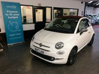 USED 2017 17 FIAT 500 1.2 C LOUNGE 3d 69 BHP This One Owner 500C Lounge is finished in Bossanova White with contrasting power folding red roof, tartan cloth and Ivory leather seats and headrests. It is fitted with power steering with city button, LED Daylights, air conditioning, Bluetooth and media remote locking, electric windows, mirrors and folding canvas roof,  rear parking sensors, Blue&Me, two tone alloy wheels, CD Stereo with USB port and more. It comes with a full Fiat service history done at 11219/22000 miles. We will supply this