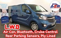 2015 VAUXHALL VIVARO 1.6 CDTi 2900 LONG WHEEL BASE SPORTIVE BI TURBO 120 BHP in Panorama Blue Metallic with Air Conditioning, Bluetooth, Cruise Control, Rear Parking Sensors, Ply Lined, Full Service History and more £9980.00