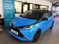 USED 2016 16 TOYOTA AYGO 1.0 VVT-I X-CITE 2 5d 69 BHP This £0 Tax/ULEZ Compliant 5 door AYGO is finished in Blue flame pearl with Black/Blue cloth seats. It is fitted with power steering, remote locking, electric windows and mirrors, air conditioning, Reverse Camera, Bluetooth, black roof/mirror caps/Alloy wheels, Stereo with USB & Aux port and more. It has been owned by one private lady from new and comes with a full Toyota service history consisting of 4 stamps. The current Mot runs till June 2020.