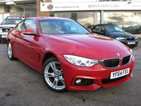 USED 2014 64 BMW 4 SERIES 2.0 420D XDRIVE M SPORT 2d 181 BHP Red with full Oyster Leather. Navigation. Bluetooth. Superb condition throughout. Heated seats. Climate control.