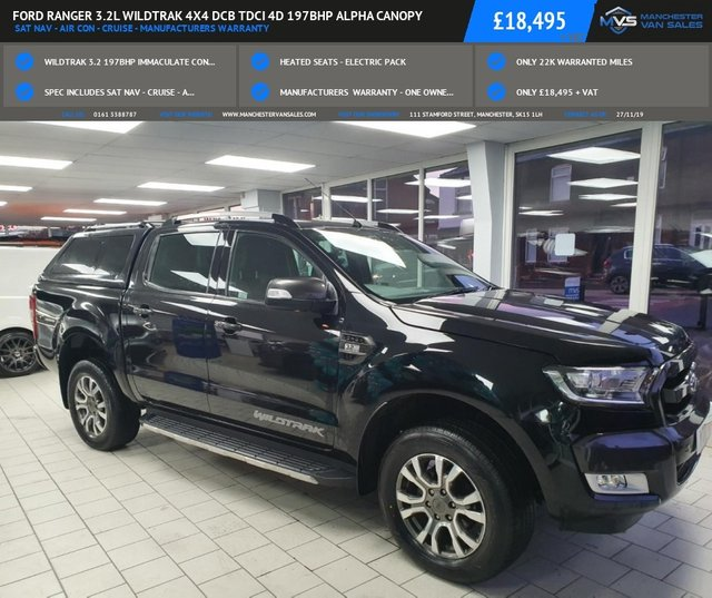 USED 2017 17 FORD RANGER 3.2L WILDTRAK 4X4 DCB TDCI 4d 197BHP ALPHA CANOPY SAT NAV - AIR CON - CRUISE - MANUFACTURERS WARRANTY