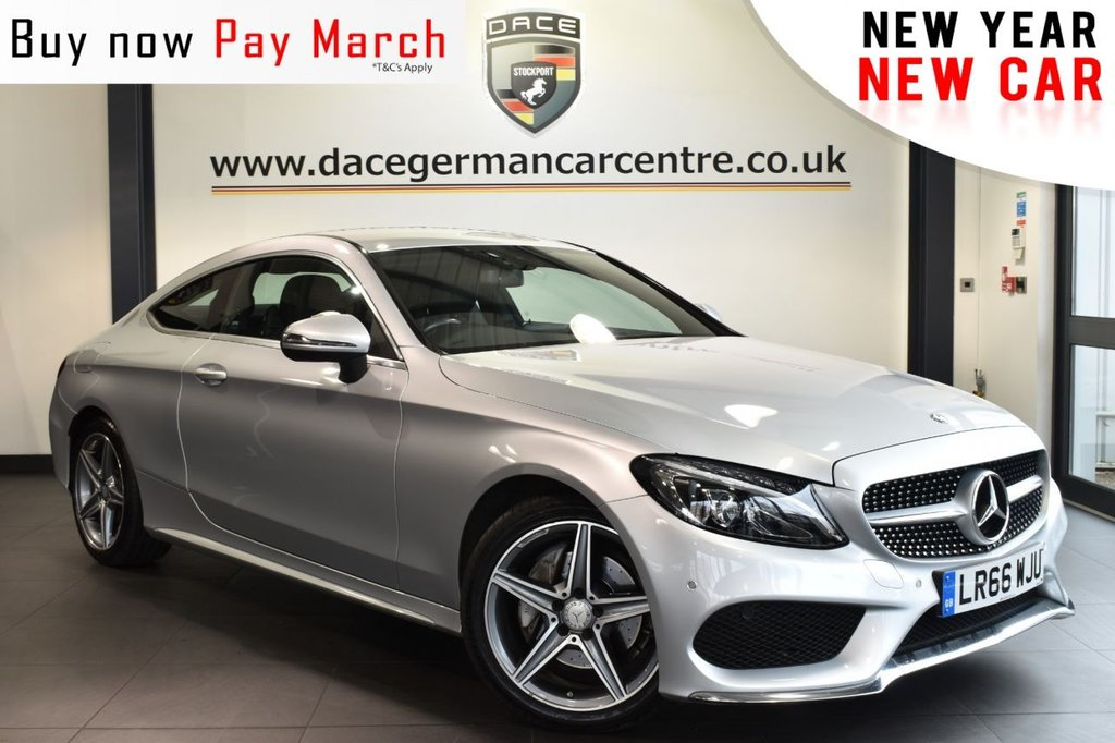 "USED 2016 66 MERCEDES-BENZ C CLASS 2.1 C 220 D AMG LINE 2DR AUTO 168 BHP  Finished in a stunning iridium metallic silver styled with 18"" alloys. Upon opening the drivers door you are presented with full leather interior, full service history, satellite navigation, bluetooth, reversing camera, heated seats, active park assist, rain sensors, cruise control, touchpad with rotary pushbutton, electric folding mirrors, DAB radio, ambient lighting, AMG styling package, mirror package, parking package"