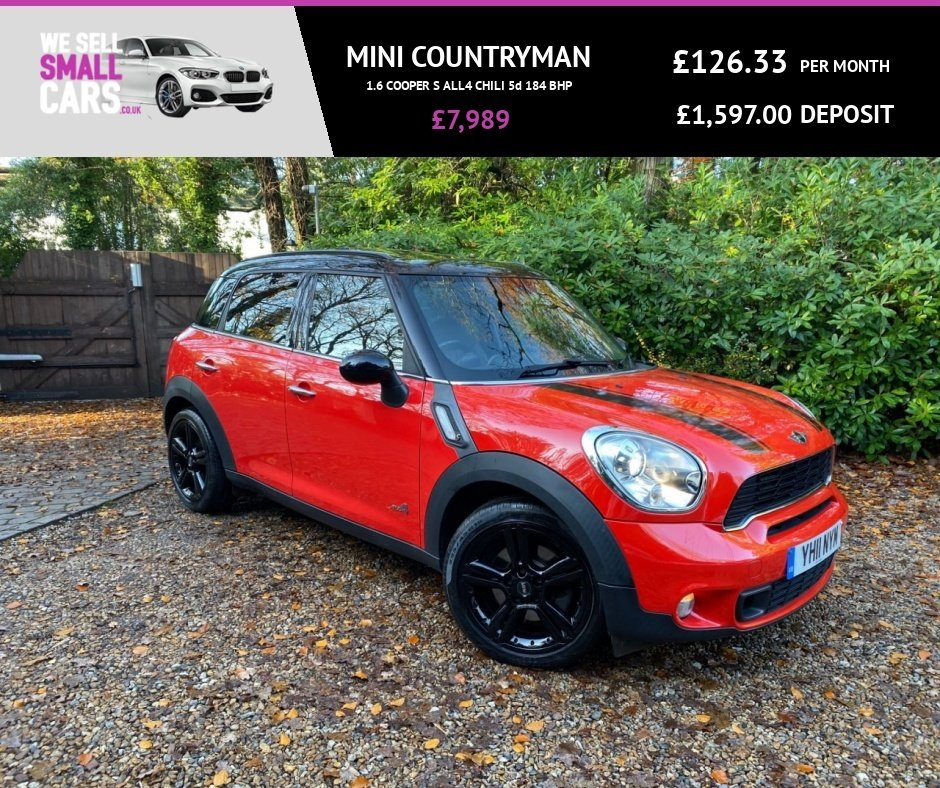 USED 2011 11 MINI COUNTRYMAN 1.6 COOPER S ALL4 CHILI 5d 184 BHP COLOUR SAT NAV PANORAMIC ROOF FULL HEATED LEATHER 18 INCH ALLOYS