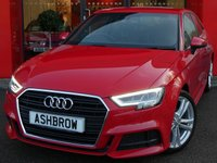 USED 2016 66 AUDI A3 1.4 TFSI S LINE 3d 150 S/S NEW SHAPE, 1 OWNER FROM NEW, FULL AUDI SERVICE HISTORY, £20 ROAD TAX (109 G/KM), UPGRADE ELECTRIC FOLDING HEATED DOOR MIRRORS, SAT NAV, BLACK 1/2 LEATHER, DAB RADIO, BLUETOOTH PHONE & MUSIC STREAMING, CRUISE CONTROL, LED LIGHTS WITH DAYTIME RUNNING LIGHTS & REAR DIRECTIONAL SWEEPING INDICATORS, AUDI SMARTPHONE INTERFACE FOR APPLE CARPLAY / ANDROID AUTO, AUDI DRIVE SELECT, LEATHER FLAT BOTTOM MULTI FUNCTION STEERING WHEEL, SPORT SEATS, 18 INCH TWIN 5 SPOKE ALLOYS WHEELS, SIM CARD SLOT + SD SLOT