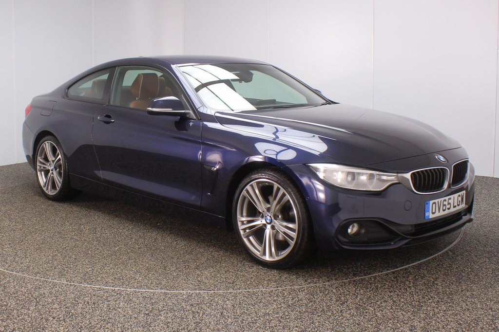 USED 2015 65 BMW 4 SERIES 2.0 420D SPORT 2DR 1 OWNER 188 BHP FULL BMW SERVICE HISTORY + HEATED LEATHER SEATS + SATELLITE NAVIGATION + REVERSE CAMERA + PARK ASSIST + PARKING SENSOR + BLUETOOTH + CRUISE CONTROL + CLIMATE CONTROL + MULTI FUNCTION WHEEL + XENON HEADLIGHTS + DAB RADIO + XENON HEADLIGHTS + ELECTRIC WINDOWS + ELECTRIC MIRRORS + 19 INCH ALLOY WHEELS