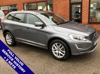 "USED 2016 66 VOLVO XC60 2.0 D4 SE LUX NAV 5DOOR 188 BHP DAB Radio   :   Satellite Navigation   :   USB & AUX Sockets   :   Car Hotspot / WiFi       Cruise Control   :   Phone Bluetooth Connectivity   :   Climate Control / Air Conditioning       Heated Front Seats   :   Electric Driver Seat   :   Auto Tailgate   :   Rear Parking Sensors       18"" Alloy Wheels   :   2 Keys   :   Full Volvo Service History"