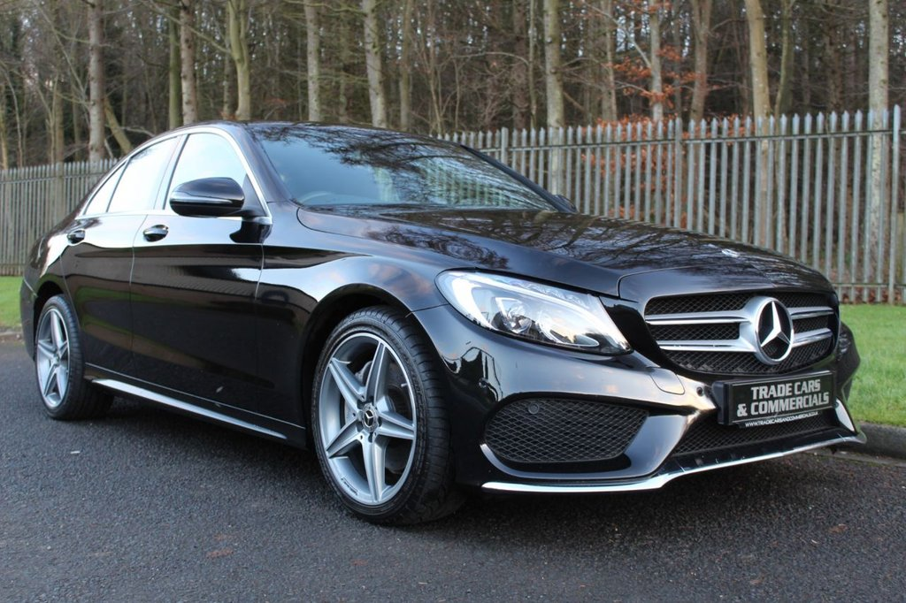 USED 2017 67 MERCEDES-BENZ C CLASS 2.1 C220 D AMG LINE 4d 170 BHP A STUNNING ONE OWNER C CLASS WITH REAR CAMERA, SAT NAV AND FULL BLACK LEATHER!!!
