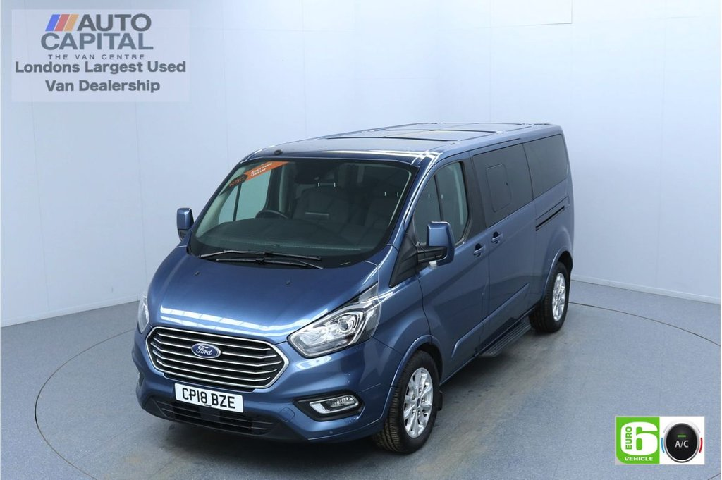 USED 2018 18 FORD TOURNEO CUSTOM 2.0 320 Titanium 130 BHP L2 9 Seats Minibus Euro 6 Low Emission Finance Packages Available | Air Con | Sensors | Alloy Wheels
