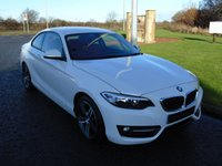 USED 2016 16 BMW 2 SERIES 2.0 218D SPORT 2d 148 BHP SAT NAV, RED LEATHER, 1 OWNER