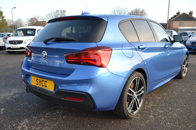 USED 2018 Y BMW 1 SERIES 2.0 118D M SPORT SHADOW EDITION 5d 147 BHP ~ ESTORIL BLUE ESTORIL BLUE ~ SAT NAV ~ ALCANTARA ~ 2 KEYS ~ DELIVERY AVAILABLE