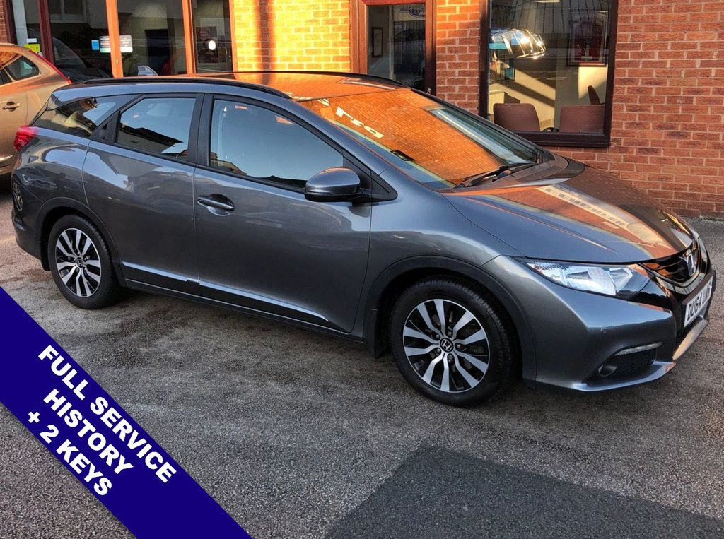 "USED 2014 64 HONDA CIVIC I-DTEC SE PLUS TOURER ZERO Road Tax   :   DAB Radio   :   USB & AUX Sockets   :   Cruise Control / Speed Limiter       Phone Bluetooth Connectivity   :   Climate Control / Air Conditioning   :   Rear View Camera       Front & Rear Parking Sensors   :   16"" Alloy Wheels   :   2 Keys   :   Full Service History"