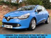 USED 2014 64 RENAULT CLIO 1.5 DYNAMIQUE MEDIANAV ENERGY DCI S/S 5d 90 BHP 2 OWNERS, FULL SERVICE HISTORY, £0 ROAD TAX, MOT DEC 20, EXCELLENT CONDITION,  NAV, ALLOYS, CRUISE, AIR CON, BLUETOOTH, RADIO CD, E/WINDOWS, R/LOCKING, FREE WARRANTY, FINANCE AVAILABLE, HPI CLEAR, PART EXCHANGE WELCOME,
