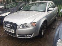 USED 2007 07 AUDI A4 2.0 TDI SE TDV 4d 140 BHP MOT 07/20 SILVER MET WITH BLACK CLOTH TRIM. 17 INCH ALLOYS. COLOUR CODED TRIMS. CLIMATE CONTROL. R/CD PLAYER. AGE/MILEAGE RELATED SALE. SUV4X4 P/X CLEARANCE CENTRE - LS23 7FQ. TEL 01937 849492 OPTION 3