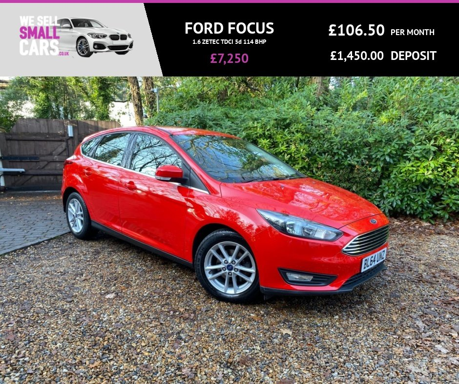 USED 2015 64 FORD FOCUS 1.6 ZETEC TDCI 5d 114 BHP 1 OWNER FULL SERVICE HISTORY NEW SHAPE £20 TAX ALLOYS AIR CON