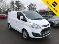 2013 FORD TRANSIT CUSTOM 2.2 290 LIMITED LR P/V 124 BHP IN WHITE IN IMMACULATE CONDITION INSIDE AND OUT WITH ONLY 67500 MILES, FULL SERVICE HISTORY AND NO VAT!! £9499.00