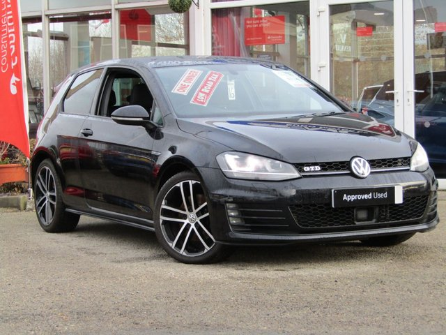USED 2015 15 VOLKSWAGEN GOLF 2.0 GTD 3d 182 BHP STUNNING, 1 OWNER, £20 Road Tax, VW GOLF 2.0 GTD 181 BHP. (Winter Pack). Finished in DEEP BLACK PEARL Metalic, with contrasting heated sports interior. This is a low mileage classic HOT HATCH. Comes with LED run Lights, Auto Parking, SAT NAV, DAB, B/Tooth, Cruise, Power Folding Mirrors and Park Sensors. Performance as the name suggests is very lively and makes an Ideal Family Hatch, Dealer serviced @ 19216 miles, 57968 miles, 95288 miles, 12 Months MOT.