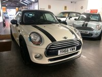 """USED 2016 66 MINI HATCH COOPER 1.5 COOPER 3d 134 BHP One lady owner petrol powered Mini Cooper finished in pepper white fitted with a pepper pack, with black roof, mirrors, black 16"""" wheels, and black bonnet stripes. It is fitted with remote locking, Visual Boost, Mini mood lighting, start stop, puddle lights, Mini connected, electric windows and mirrors, climatic air con, Bluetooth, Isofix, fogs, auto lights & rain sensor, USB - Aux - DAB  and more. It has had one private owner from new. It comes with a full Mini service history."""