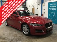 """USED 2016 16 JAGUAR XE 2.0 R-SPORT 4d 161 BHP 30 RFL, Full Jaguar Service History, Satellite Navigation, Heated Leather Sports Seats and Heated Steering Wheel, Bluetooth Phone and Media Streaming, Rear Park Sensors, DAB Radio, Auto Lights and Wipers, Cruise Control, Dual Zone Climate, Keyless Start, Lane Departure Warning, Traffic Sign Recognition, Active Emergency Braking, 17"""" Alloys"""