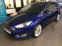 """USED 2016 66 FORD FOCUS 1.5 TITANIUM X TDCI 5d 118 BHP This £0 Tax 50 mpg+ 1.5 TDCi Focus Titanium X 5 Door is finished in deep impact blue with black heated electric seats. Its ULEZ compliant. It is fitted with front and rear park assist with park itself option, reverse camera, Ford SYNC Sat Nav/Bluetooth phone, remote locking, electric windows and mirrors, climate control, heated front/rear screen, 18"""" alloy wheels, USB/Aux CD Stereo, tinted glass and more. Two private owners, it comes with a complete Ford service history."""
