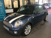 """USED 2009 09 MINI CONVERTIBLE 1.6 COOPER 2d 120 BHP This Cooper Cabriolet is finished in Metallic Horizon Blue (Mauve), blue roof with black leather. It is fitted with power steering, remote locking, electric windows, mirrors and folding Denim Blue canvas roof, air con, rear parking sensors, white bonnet stripes, heated front screen, 17"""" Alloy wheels, Aux & USB ports and more. It has been privately from new and comes with a full service history with receipts, done at Mini and specialist."""