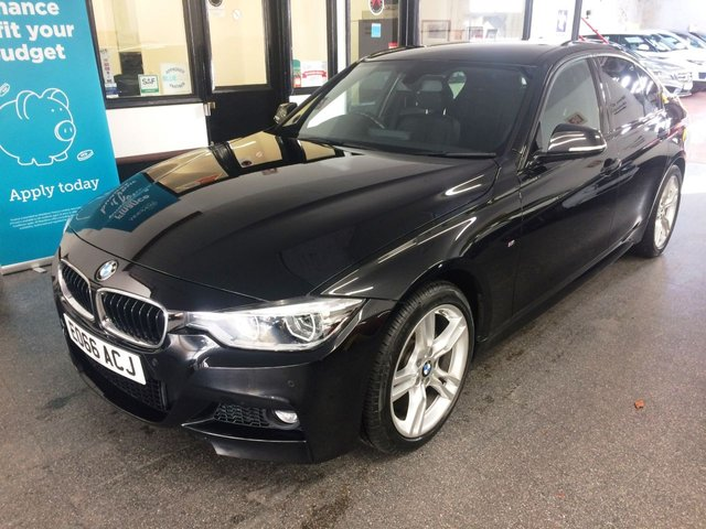 """USED 2016 66 BMW 3 SERIES 2.0 320D M SPORT 4d 188 BHP This F30 320d B470 M Sport Saloon is finished in metallic black sapphire with black heated  Dakota heated Leather seats. It is fitted with Media Touch pad professional,  power steering, remote locking, electric windows, mirrors with dual zone climate control, cruise control, front/rear parking sensors, privacy glass, Bluetooth, auto headlights, 18"""" split spoke alloy wheels,  USB & Aux port and more. Its had one previous private owner comes with a full BMW service history, is only £20 to tax."""