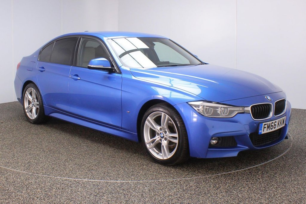 USED 2017 66 BMW 3 SERIES 2.0 330E M SPORT 4DR AUTO FULL HISTORY PRO NAV HEATED LEATHER Finished in a stunning estoril metallic blue styled with 18 inch alloys. Upon opening the drivers door you are presented with full oyster leather interior, full service history, pro satellite navigation, bluetooth, reversing camera, heated seats, cruise control, LED headlights, LED fog lights, DAB radio, privacy glass, Automatic air conditioning, light package, rain sensors, eDrive services, Connected Drive Services, parking sensors