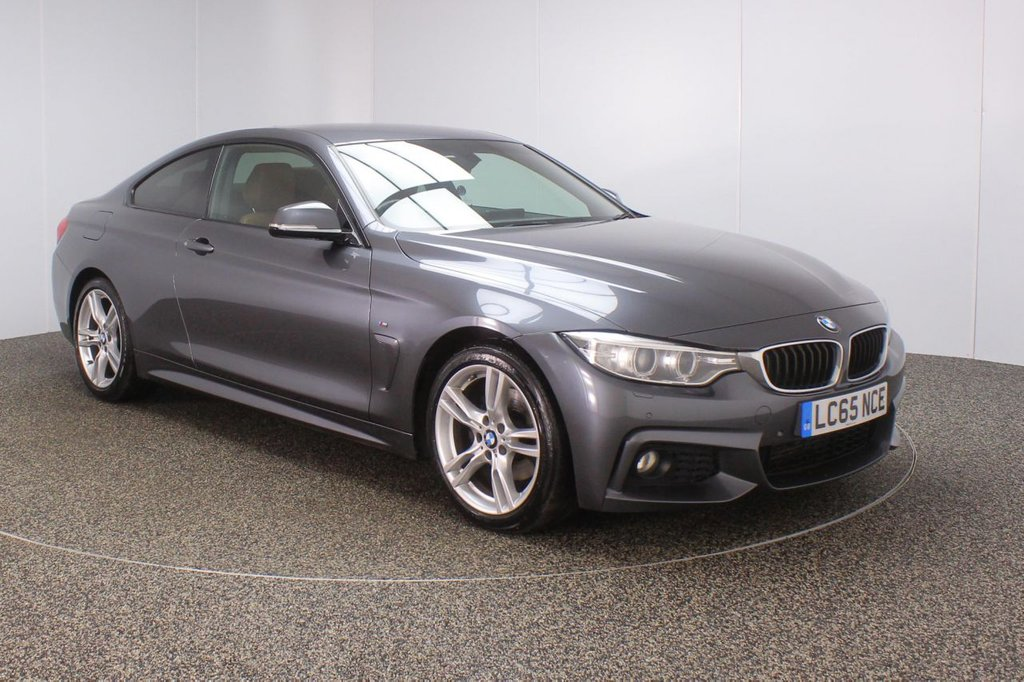 USED 2015 65 BMW 4 SERIES 2.0 420D M SPORT 2DR 1 OWNER 188 BHP  FULL BMW SERVICE HISTORY + £30 12 MONTHS ROAD TAX + HEATED LEATHER SEATS + SATELLITE NAVIGATION PROFESSIONAL + HARMAN/KARDON PREMIUM SPEAKERS + PARKING SENSOR + BLUETOOTH + CRUISE CONTROL + CLIMATE CONTROL + MULTI FUNCTION WHEEL + XENON HEADLIGHTS + PRIVACY GLASS + ELECTRIC WINDOWS + ELECTRIC MIRRORS + 18 INCH ALLOY WHEELS